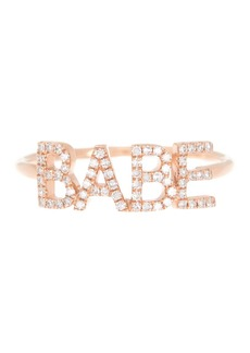 EF Collection 14K Rose Gold Pave Diamond 'Babe' Ring - Size 7 - 0.16 ctw