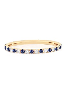 EF Collection 14k Gold Diamond and Blue Sapphire Eternity Ring  Size 5 and 7