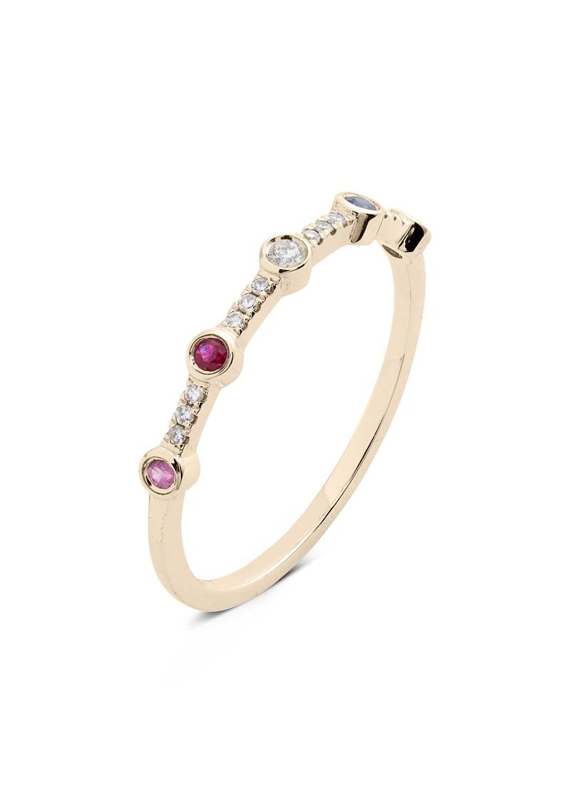 EF Collection 5-Bezel Rainbow Diamond Stack Ring