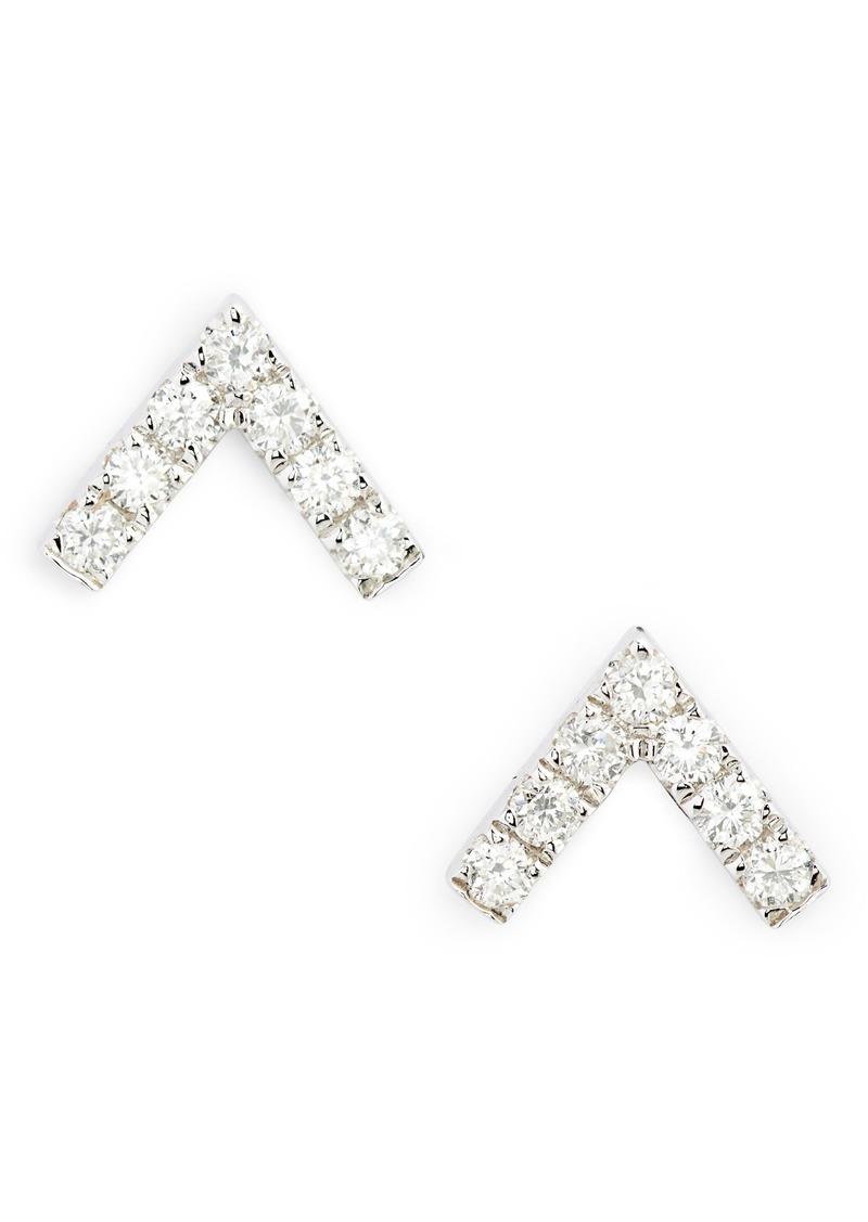 EF Collection Chevron Diamond Stud Earrings