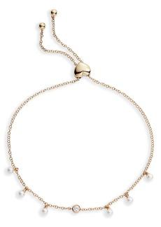 EF Collection Diamond & Pearl Bolo Bracelet