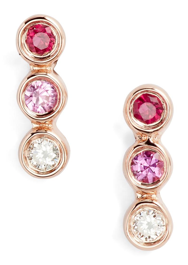 EF Collection Diamond & Pink Sapphire Trio Bezel Stud Earrings