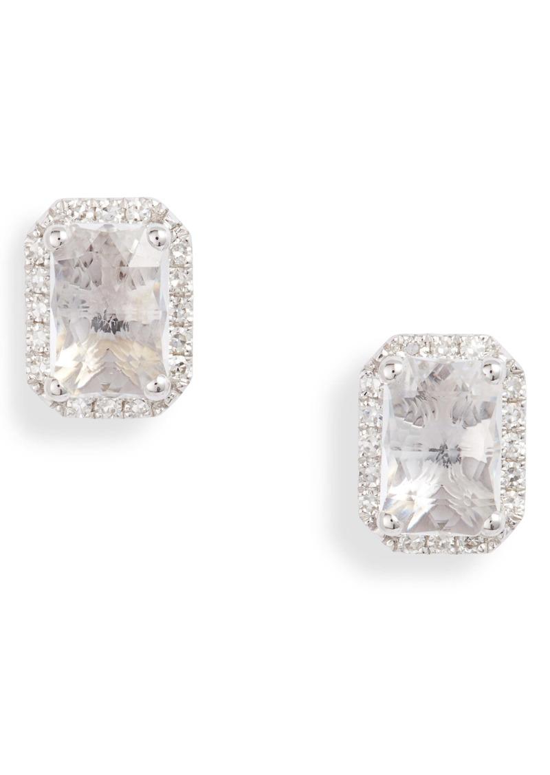 EF Collection Diamond & White Topaz Stud Earrings