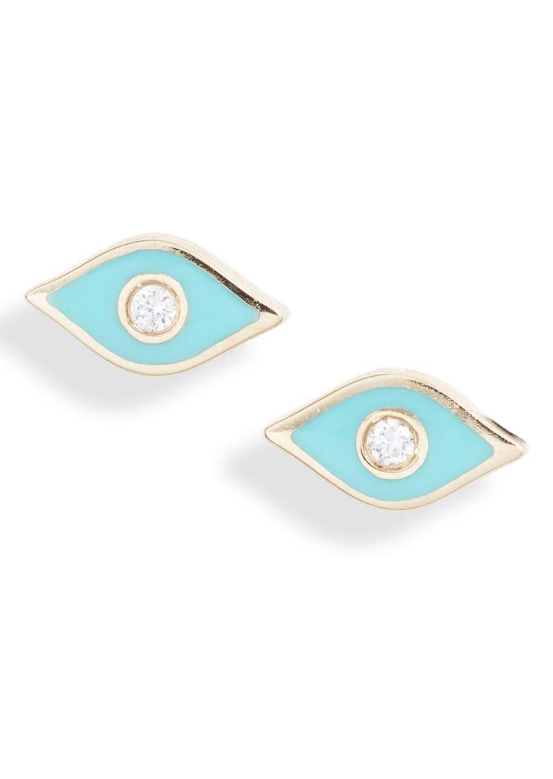 EF Collection Diamond Evil Eye Stud Earrings