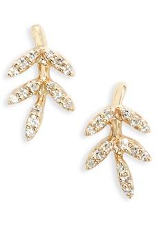 EF Collection Diamond Leaf Stud Earrings