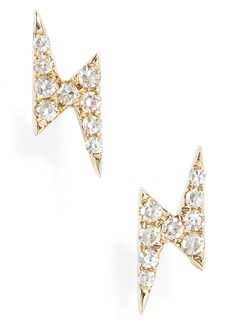 EF COLLECTION Diamond Lightening Bolt Stud Earrings