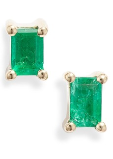 EF Collection Emerald Baguette Stud Earrings