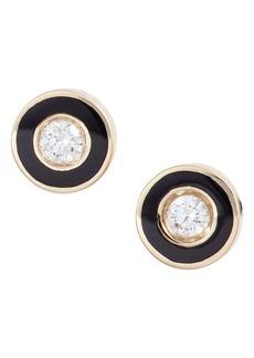 EF Collection Enamel Diamond Stud Earrings