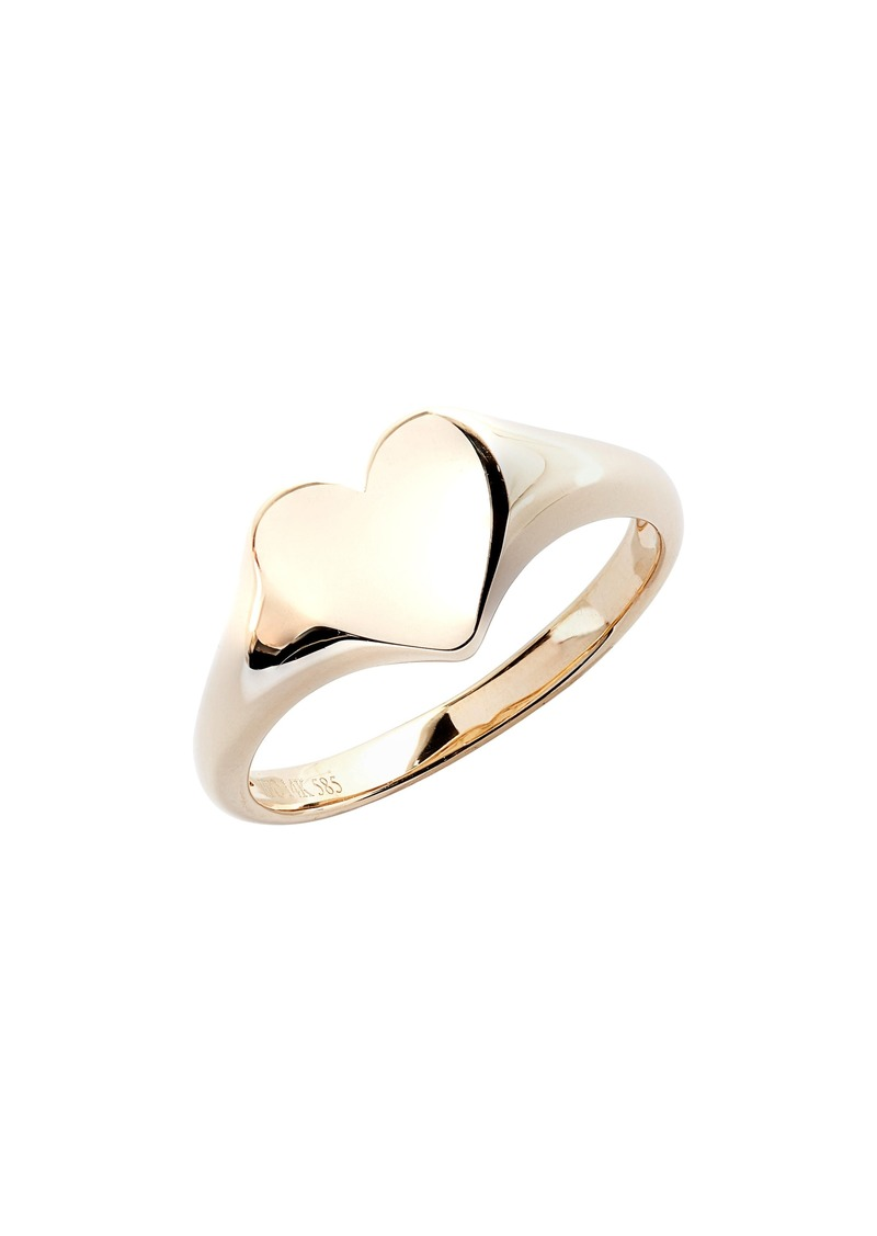 EF Collection Gold Heart Pinky Ring