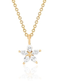 EF Collection Marquise Diamond Flower Pendant Necklace