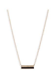 EF Collection Mini Diamond & Enamel Bar Pendant Necklace