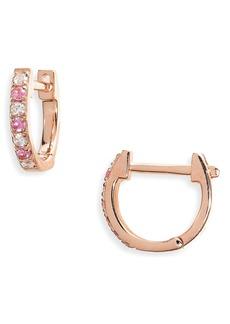 EF Collection Mini Diamond & Sapphire Huggie Hoop Earrings