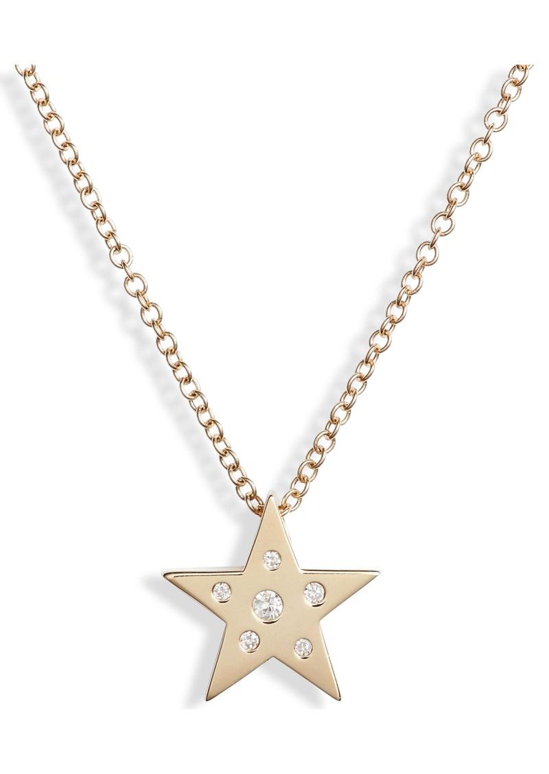 EF Collection Mini Diamond & White Sapphire Star Pendant Necklace