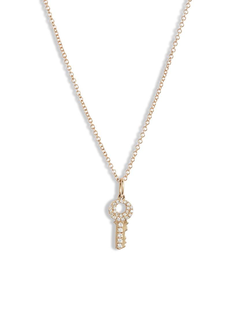 EF Collection Mini Diamond Key Pendant Necklace