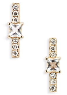 EF Collection Princess Diamond Bar Stud Earrings