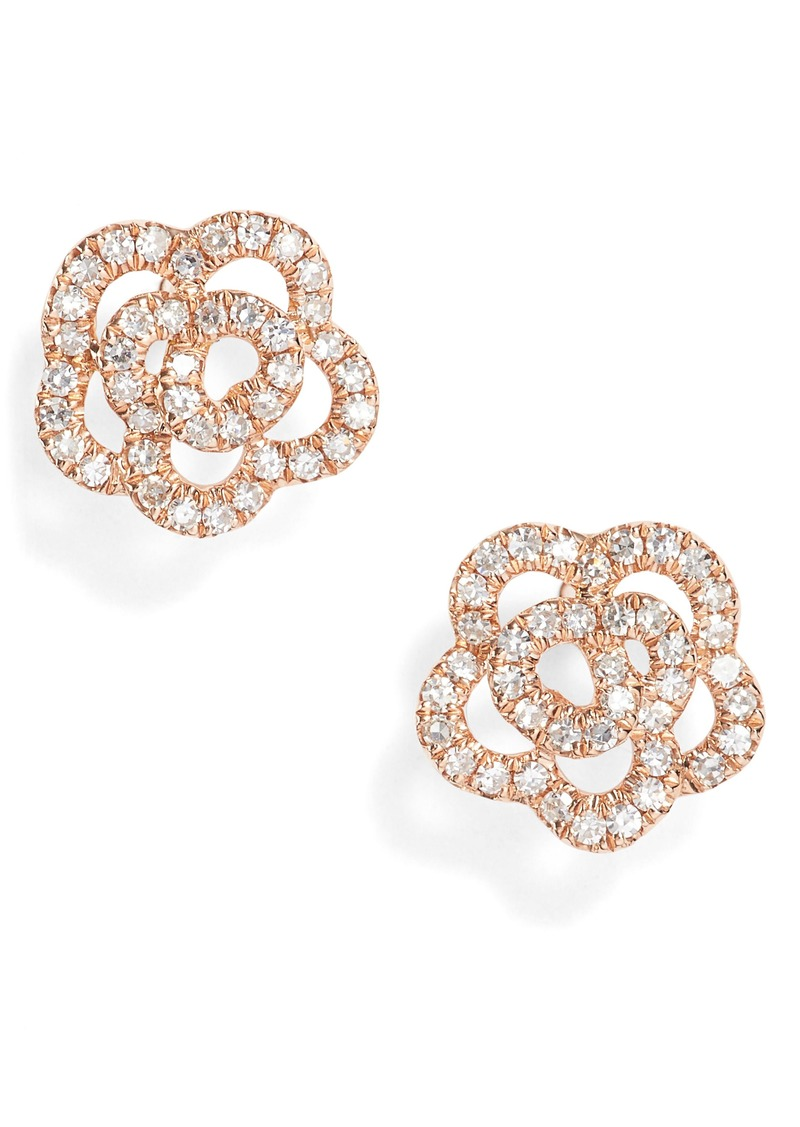 EF Collection Rose Diamond Stud Earrings