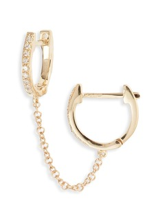 EF Collection Single Mini Diamond Double Chain Huggie Hoop Earring