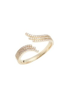 EF Collection Willow 14K Yellow Gold Pave Diamond Bypass Ring - Size 6 - 0.21 ctw