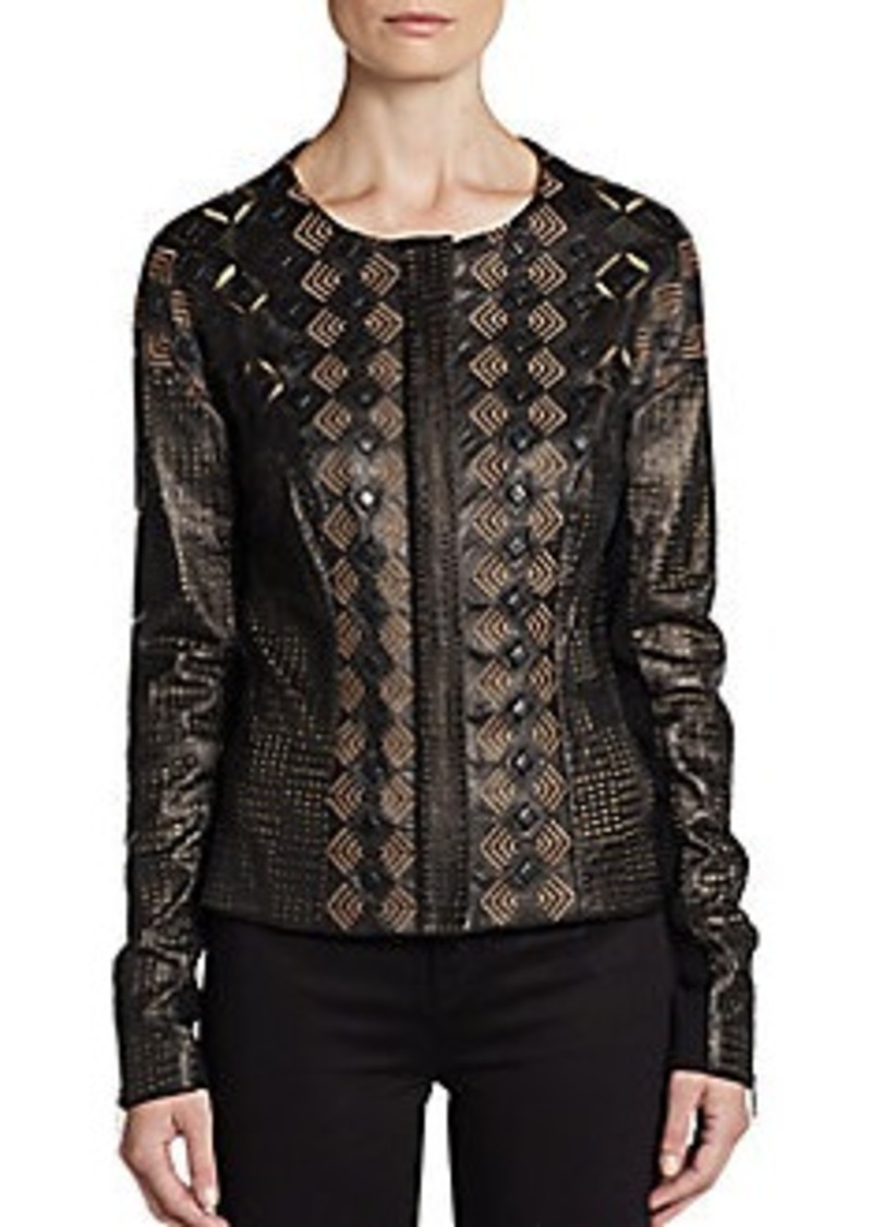 Catherine Malandrino Ingrid Pierced and Embroidered Leather Jacket