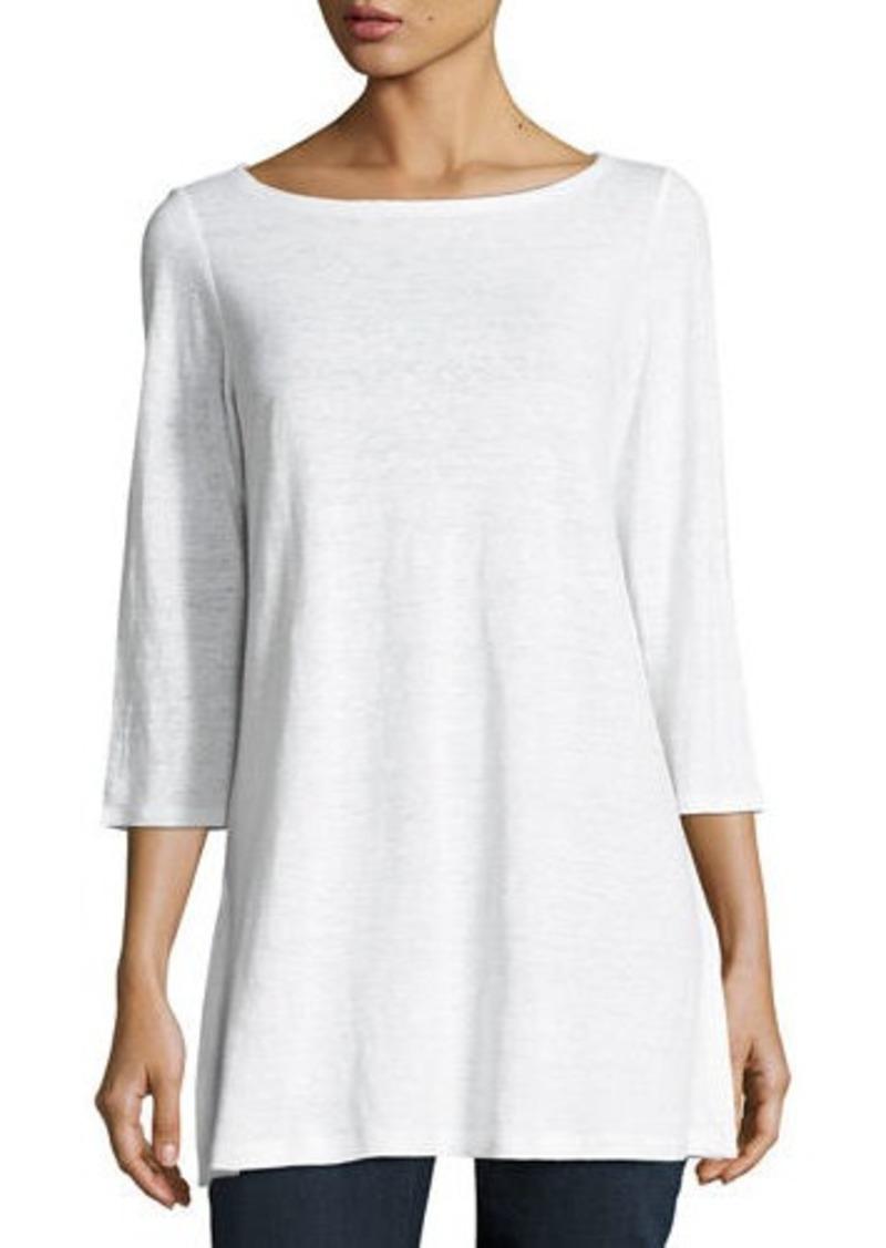 Eileen Fisher Petite 3/4-Sleeve Organic Linen Jersey Tunic