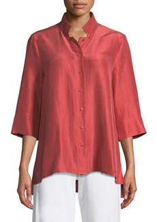Eileen Fisher Petite 3/4-Sleeve Silk Doupioni Shirt