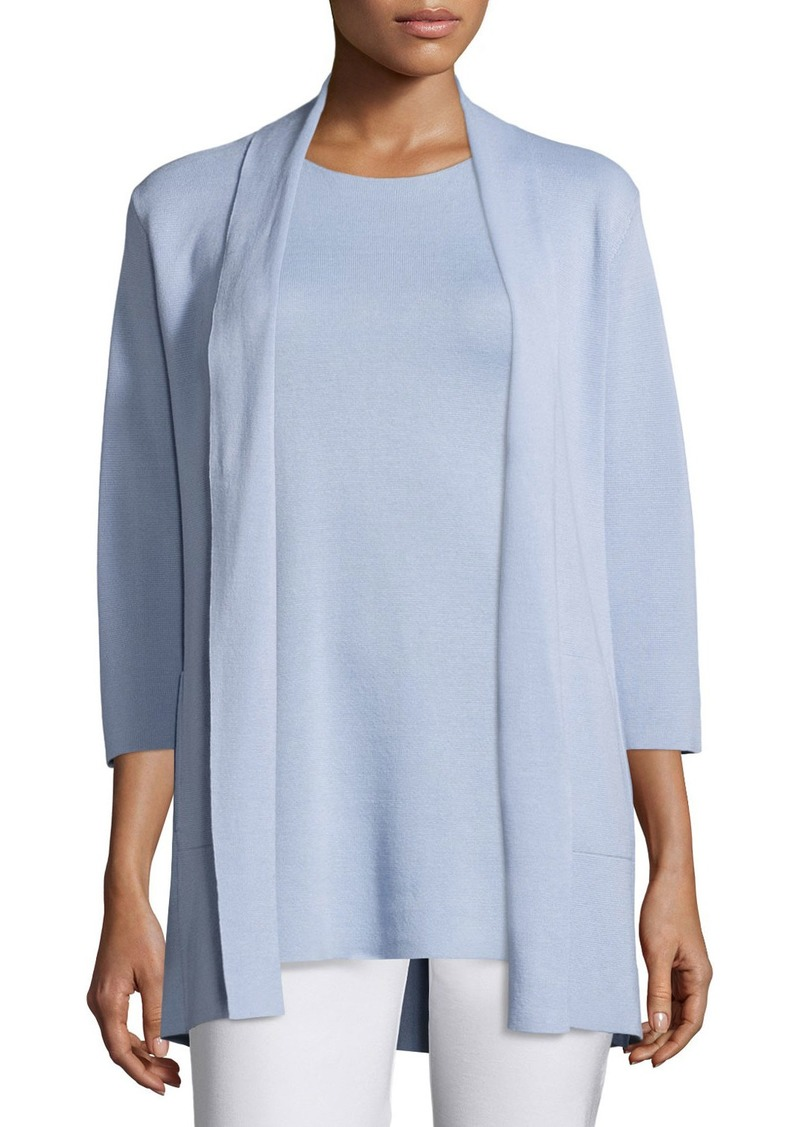 Eileen Fisher 3/4-Sleeve Silk/Organic-Cotton Jacket  Delfina  Petite
