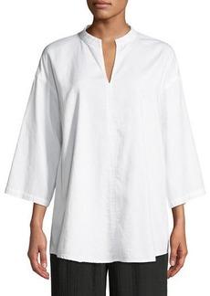 Eileen Fisher 3/4-Sleeve Soft Organic Cotton Twill Shirt