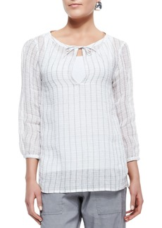 Eileen Fisher 3/4-Sleeve Windowpane Gauze Top  Petite