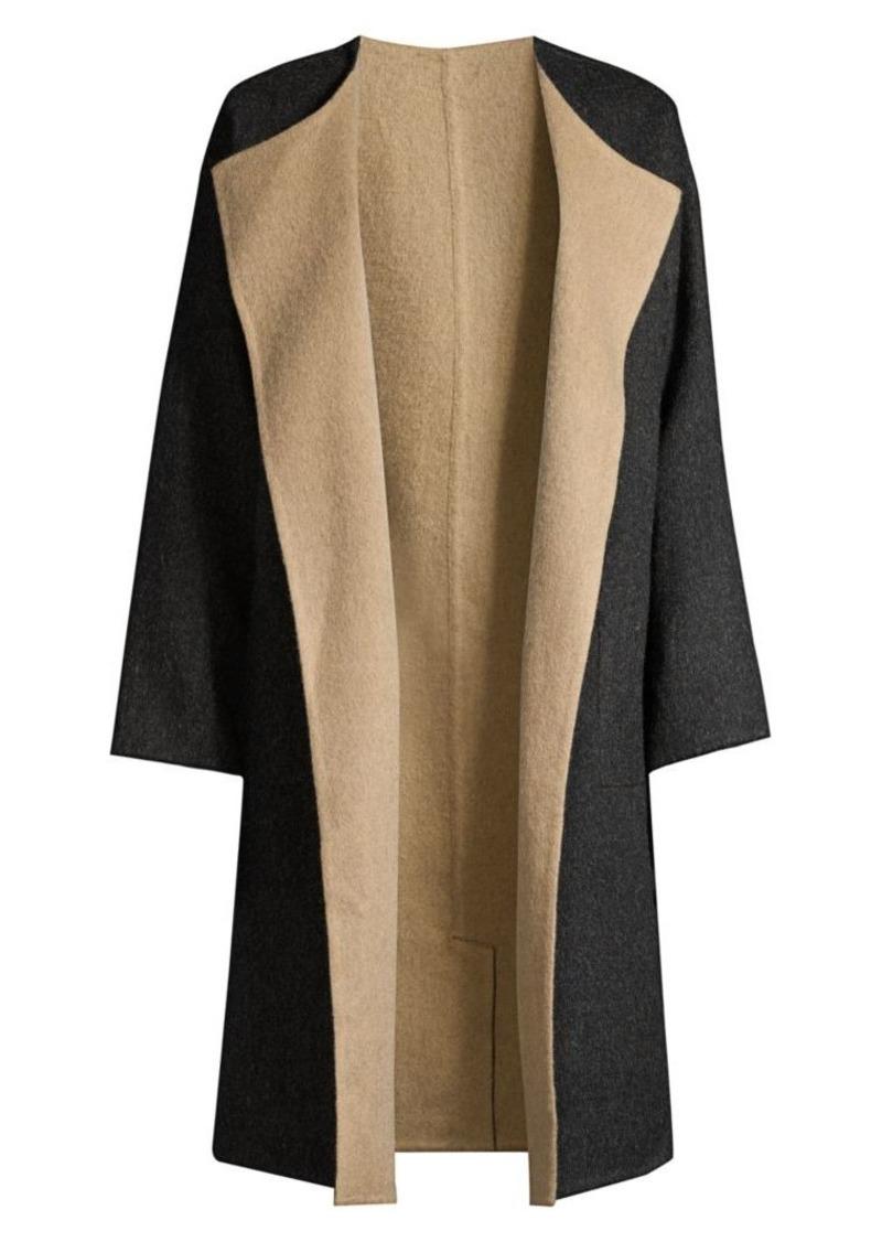 Eileen Fisher Alpaca Wool-Blend Open-Front Longline Coat