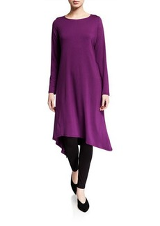 Eileen Fisher Asymmetrical Long-Sleeve Jersey Midi Dress