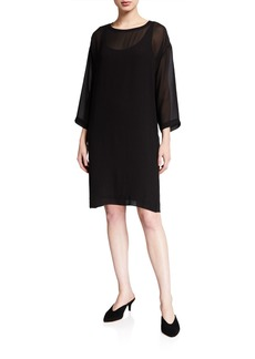 Eileen Fisher Ballet Neck 3/4-Sleeve Sheer Silk Dress