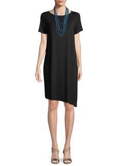 Eileen Fisher Ballet-Neck Asymmetric-Hem Jersey Dress