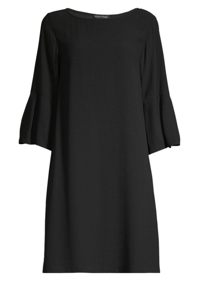 Eileen Fisher Bateau Bell-Sleeve Silk Shift Dress