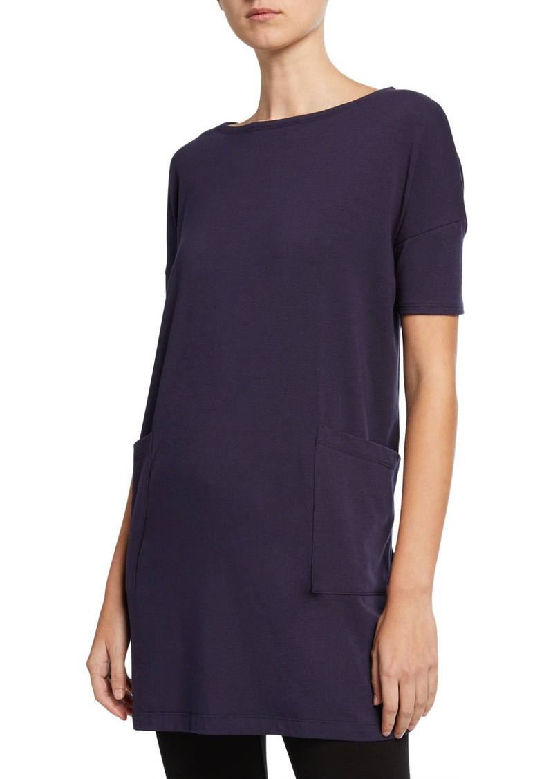Eileen Fisher Bateau-Neck Elbow-Sleeve Cotton Jersey Tunic