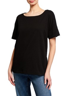 Eileen Fisher Bateau-Neck Short-Sleeve Slub Cotton Jersey Tee