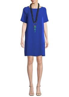 Eileen Fisher Bateau-Neck Silk Crepe Shift Dress