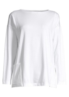 Eileen Fisher Bateau-Neck Stretch Organic Cotton Top