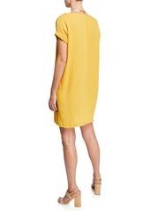 3711a3022622c ... Eileen Fisher Boat-Neck Short-Sleeve Organic Cotton Gauze Dress