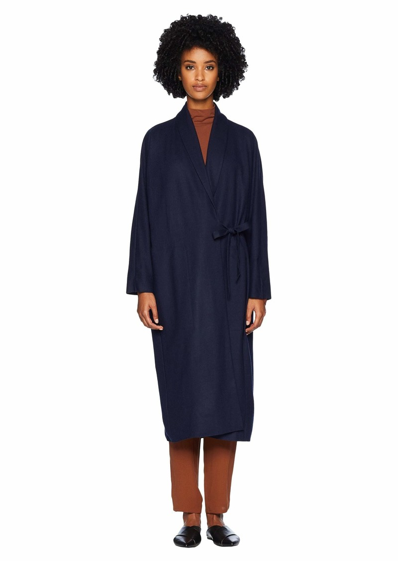 Eileen Fisher Boiled Wool Jersey Shawl Collar Bracelet Sleeve Long Jacket