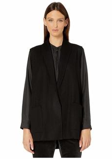 Eileen Fisher Boiled Wool Jersey Shawl Collar Vest w/ Pockets