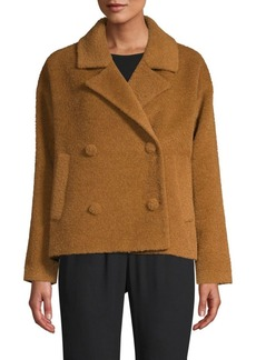 Eileen Fisher Boucle Notch-Lapel Short Peacoat