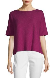 Eileen Fisher Boxy Linen Cotton Slub Knit Top