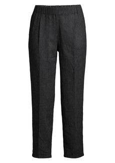 Eileen Fisher Broken Stripe Wool Flannel Pants
