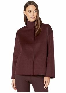 Eileen Fisher Brushed Wool Doubleface Stand Collar Boxy Coat