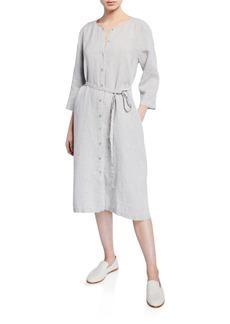 Eileen Fisher Button-Front Sparkle Linen 3/4-Sleeve Shirtdress
