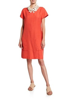Eileen Fisher Cap-Sleeve Crepe Shift Dress