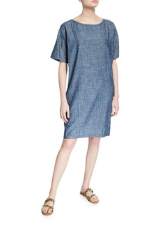 Eileen Fisher Chambray Short-Sleeve Shift Dress