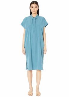 Eileen Fisher Classic Collar Short Sleeve Calf Length Dress