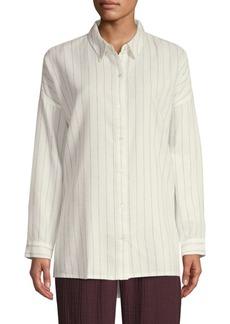 Eileen Fisher Classic-Collar Striped Boxy Shirt