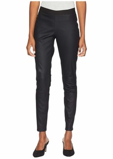 Eileen Fisher Coated Organic Cotton Stretchy Denim Leggings in Black